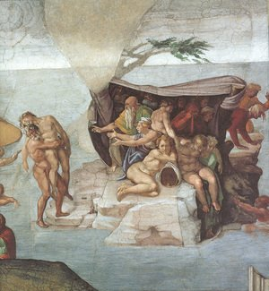 Michelangelo - Ceiling of the Sistine Chapel: Genesis, Noah 7-9: The Flood, right view