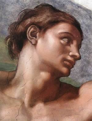 Michelangelo - Ceiling of the Sistine Chapel: Genesis, The Creation of Adam [Adam's face]