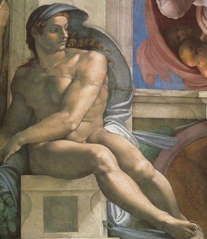 Michelangelo - Ceiling of the Sistine Chapel: Ignudi, next to Separation of Land and the Persian Sybil [left]