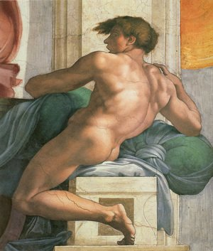 Michelangelo - Ceiling of the Sistine Chapel: Ignudi, next to Separation of Land and the Persian Sybil [right]