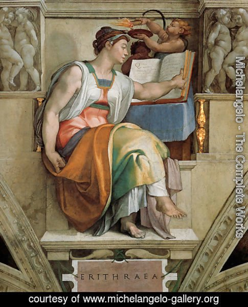 Michelangelo - Ceiling of the Sistine Chapel: Sybils: Erithraea
