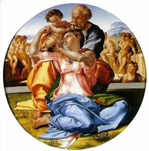 Michelangelo - The Holy Family with the Infant John the Baptist (or The Doni tondo)