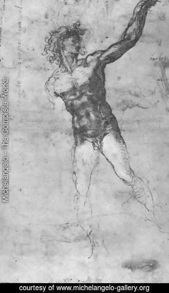 Michelangelo - Male nude, study for the Battle of Cascina