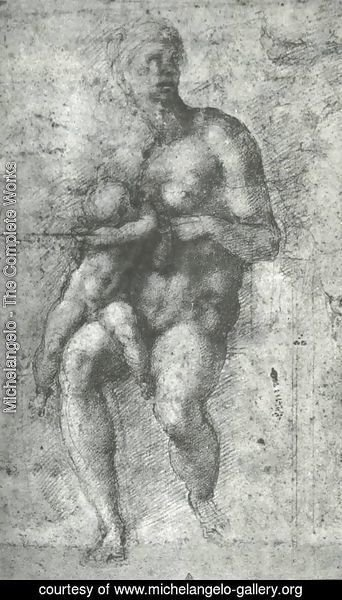 Michelangelo - Study for a Holy Family with the Infant St.John