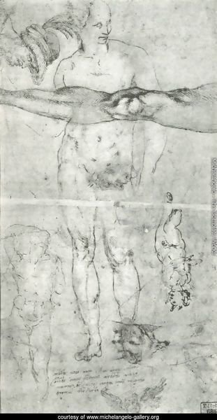 Various studies including a tracing from the other side of the sheet