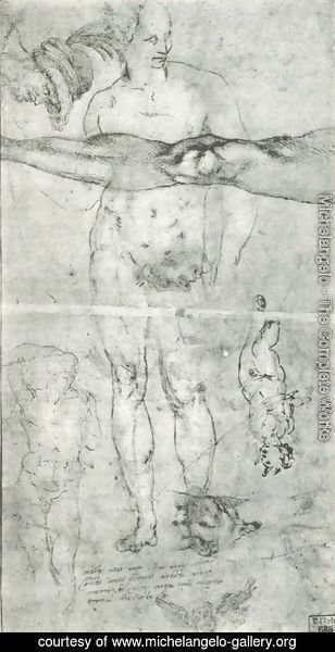 Michelangelo - Various studies including a tracing from the other side of the sheet