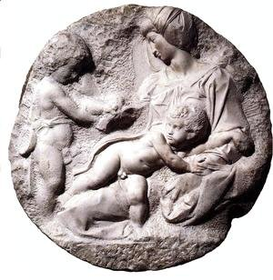 Michelangelo - Madonna and Child with the Infant Baptist (or Taddei Tondo)