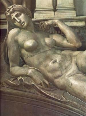 Michelangelo - Tomb of Lorenzo de' Medici: Dawn [detail: 1]