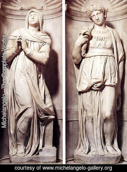 Michelangelo - Tomb of Pope Julius II [detail] - Rachel and Leah