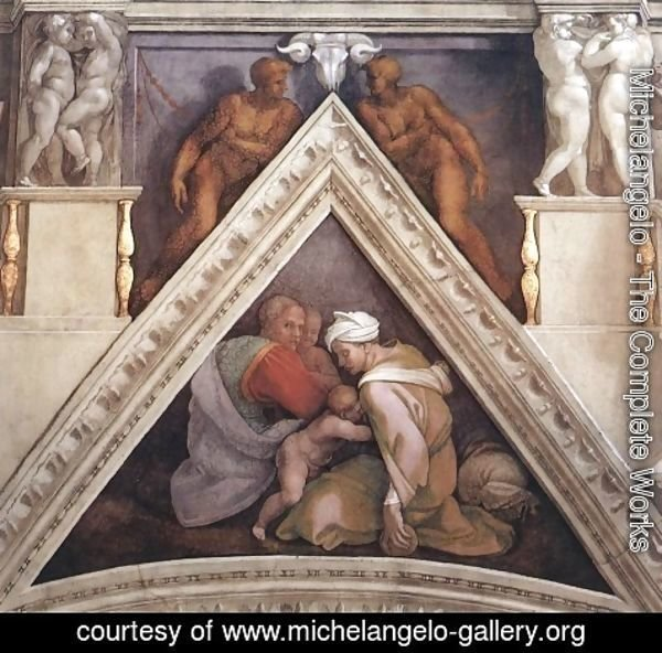 Michelangelo - Ancestors of Christ - Uzziah, parents, and a brother