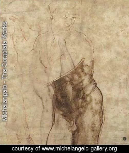 Michelangelo - The Risen Christ a three-quarter length nude , looking down to the right, drawn over subsidiary