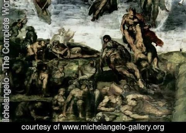 Michelangelo - The Last Judgement fresco on the altar wall of the Sistine chapel, detail resurrection of the dead from their graves