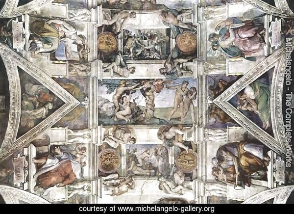 Ceiling fresco for the story of creation in the Sistine Chapel, detail of the general view