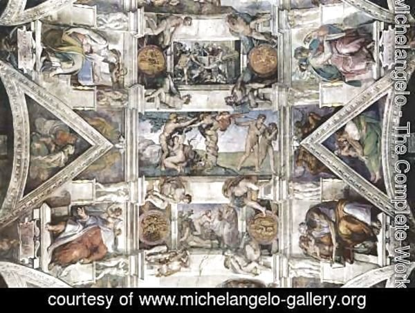 Michelangelo - Ceiling fresco for the story of creation in the Sistine Chapel, detail of the general view