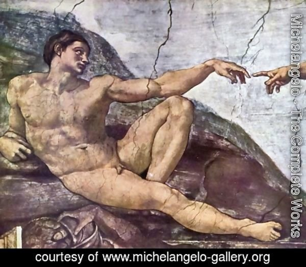 Michelangelo - Ceiling fresco for the story of creation in the Sistine Chapel, the main scene, the Creator God created Adam, Adam Detail