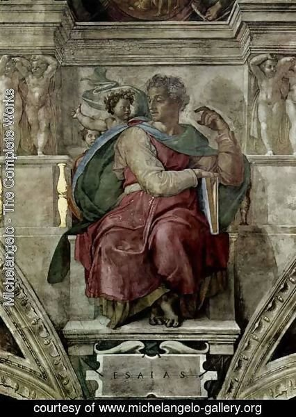 Michelangelo - Ceiling fresco for the story of creation in the Sistine Chapel, scene of the Prophet bezel Jessaja