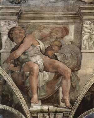 Michelangelo - Ceiling fresco for the story of creation in the Sistine Chapel, scene in Bezel The Prophet Jonas