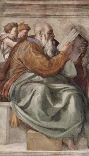 Michelangelo - Ceiling fresco for the story of creation in the Sistine Chapel, scene in Bezel The Prophet Zacharias, detail