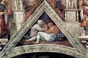 Michelangelo - Ceiling fresco for the story of creation in the Sistine Chapel, Ancestors of Christ scene in Bezel