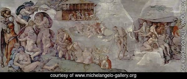 Ceiling fresco for the story of creation in the Sistine Chapel, the main scene Flood