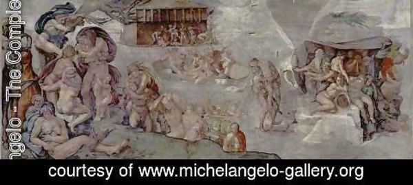 Michelangelo - Ceiling fresco for the story of creation in the Sistine Chapel, the main scene Flood
