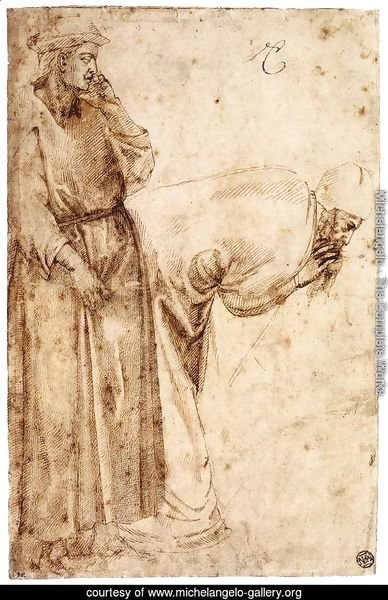 Two Male Figures after Giotto (recto)