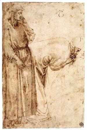 Michelangelo - Two Male Figures after Giotto (recto)