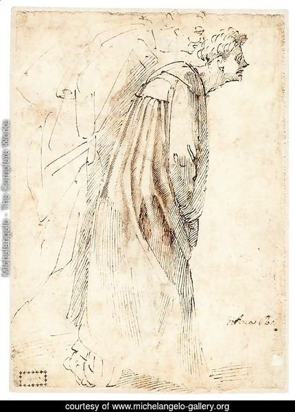 Two Standing Figures in Profile (verso)