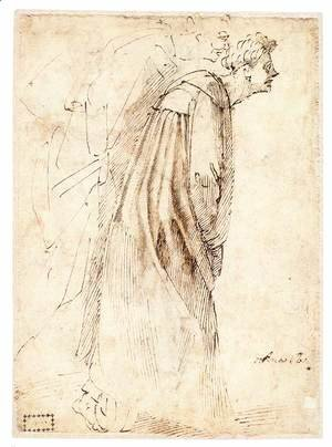 Michelangelo - Two Standing Figures in Profile (verso)
