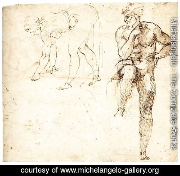 Michelangelo - Woman Hoeing and Sitting Man (recto)