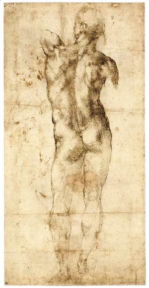 Michelangelo - Standing Male Nude, Seen from the Rear (recto)