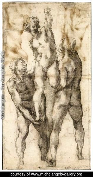 Michelangelo - Group of Three Male Nudes (recto)