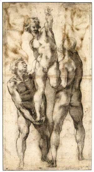 Group of Three Male Nudes (recto)