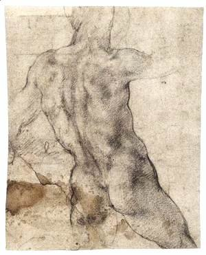 Michelangelo - Male Nude, Seen from the Rear (recto) 2