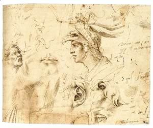 Michelangelo - Helmeted Head of a Youth, and Other Studies (recto)