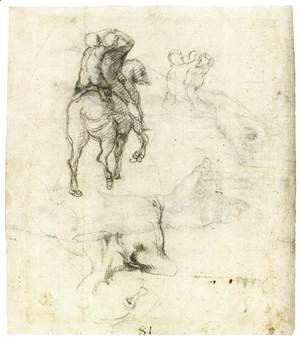 Michelangelo - Horse with Two Riders (recto)