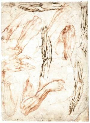 Studies of Arms and Hands (recto)