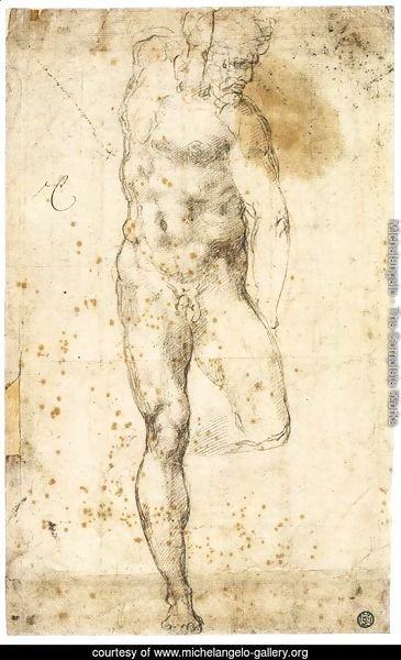 Study of a Standing Male Nude Figure (recto)