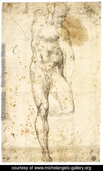 Michelangelo - Study of a Standing Male Nude Figure (recto)