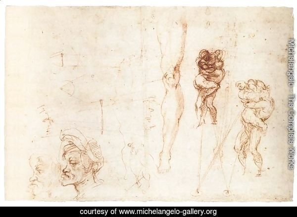 Studies of Two Wrestlers and Other Studies (recto)