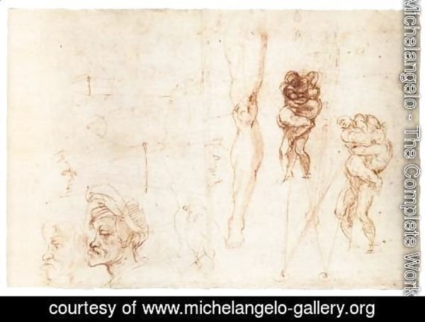 Michelangelo - Studies of Two Wrestlers and Other Studies (recto)