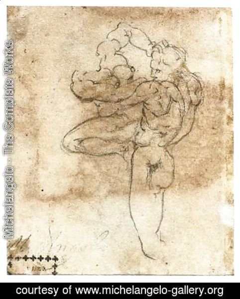 Michelangelo - Man Abducting a Woman (verso)