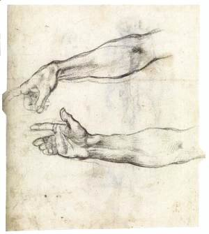 Michelangelo - Two Studies of an Outstretched Right Arm (verso)