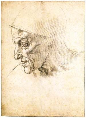 Michelangelo - Study for the Head of the Cumeaen Sibyl (recto)