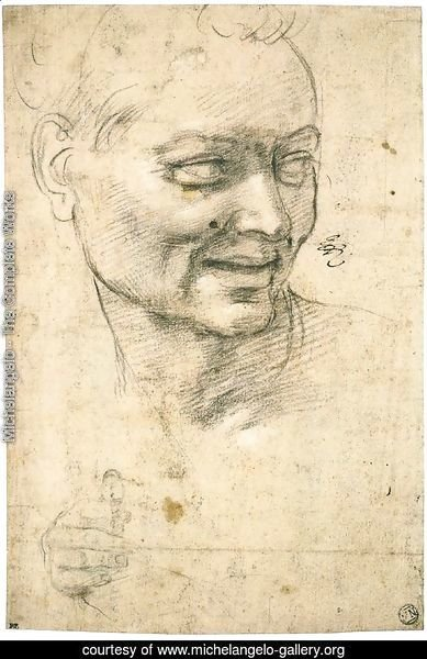 Head Study of a Smiling Youth (recto)