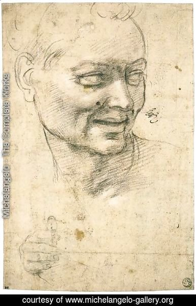 Michelangelo - Head Study of a Smiling Youth (recto)