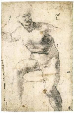 Michelangelo - Youthful Nude (verso)