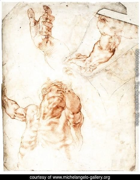 Five Studies for the Figure of Haman (recto)
