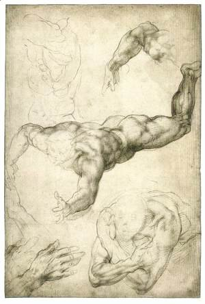 Michelangelo - Studies for a Flying Angel (recto)