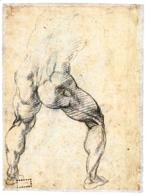 Michelangelo - Male Nude, Seen from the Rear (verso)